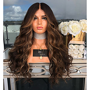 cheap Synthetic Trendy Wigs-Synthetic Wig Body Wave Asymmetrical Wig Long Brown Synthetic Hair 27 inch Women's curling Brown