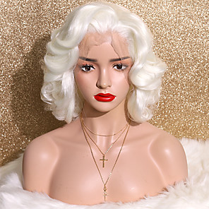 cheap Synthetic Lace Wigs-Synthetic Lace Front Wig Curly Side Part Glueless Lace Front Lace Front Wig Short Creamy-white Synthetic Hair 12 inch Women's Fashionable Design Cosplay Party White