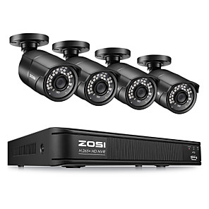 cheap CCTV Cameras-ZOSI H.265 Compression 4CH 1080P PoE NVR Outdoor Home Security Surveillance CCTV System Kit with 100ft Night Vision P2P 2MP IP Bullet Camera Waterproof IP67