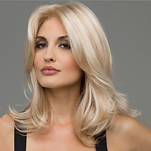 cheap Synthetic Trendy Wigs-Synthetic Wig Curly Asymmetrical Wig Blonde Medium Length Blonde Synthetic Hair 20 inch Women's Best Quality Blonde