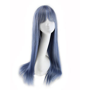 cheap Synthetic Trendy Wigs-Synthetic Wig Curly Asymmetrical Wig Long Silver Purple Synthetic Hair 27 inch Women's Best Quality Blue