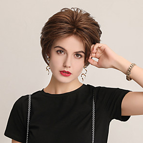 cheap Synthetic Trendy Wigs-Human Hair Lace Front Wig Bob Pixie Cut Side Part style Indian Hair Natural Straight White Brown Wig 130% Density Cosplay Party Classic African American Wig Women's Short Cosplay Suits Costume