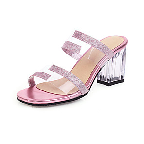 cheap Women's Sandals-Women's Sandals Spring & Summer Chunky Heel Open Toe Minimalism Daily Party & Evening Color Block PU Black / Light Purple / Gold / Clear / Transparent / PVC