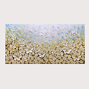 cheap Oil Paintings-Modern Hand Painted 3D Knife Oil Painting White Flowers on Canvas with Stretched Frame for Home Decoration Ready to Hang With Stretched Frame