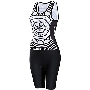 cheap Triathlon Clothing-21Grams Women's Sleeveless Triathlon Tri Suit Black / White Patchwork Bike Clothing Suit UV Resistant Breathable Quick Dry Sweat-wicking Sports Patchwork Mountain Bike MTB Road Bike Cycling Clothing