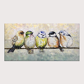cheap Abstract Paintings-Oil Hand Painting Five Birds on The Branch Warm Color Painting for Home Decoration with Stretched Frame Ready to Hang