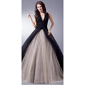 cheap Wedding Wraps-Ball Gown Wedding Dresses V Neck Sweep / Brush Train Lace Tulle Regular Straps Sexy Plus Size Black Modern with Lace Appliques 2020
