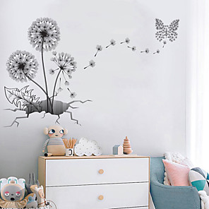 cheap Wall Stickers-3D Large Black Dandelion Flower Wall Stickers Home Decoration Living Room Bedroom Furniture Art Decals Butterfly Murals