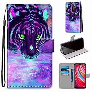 cheap Xiaomi Case-Case For Xiaomi Redmi Note 8 Pro / Redmi Note 8 / Redmi Note 8T Wallet / Card Holder / with Stand Tiger Drinking Water PU Leather / TPU for Redmi Note 7 / Mi CC9 Pro / Redmi 8 / Redmi K30 / Redmi 8A