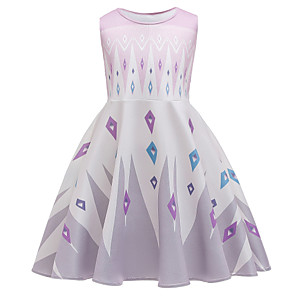 cheap Movie & TV Theme Costumes-Princess Elsa Dress Flower Girl Dress Girls' Movie Cosplay A-Line Slip Cosplay White Dress Halloween Carnival Masquerade Cotton