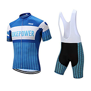 cheap Cycling Jersey & Shorts / Pants Sets-21Grams Men's Short Sleeve Cycling Jersey with Bib Shorts Polyester Bule / Black Plaid / Checkered Geometic Bike Clothing Suit UV Resistant Breathable 3D Pad Quick Dry Sweat-wicking Sports Plaid