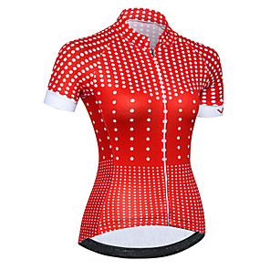 cheap Cycling Jerseys-21Grams Women's Short Sleeve Cycling Jersey Red Polka Dot Bike Jersey Top Mountain Bike MTB Road Bike Cycling UV Resistant Breathable Quick Dry Sports Clothing Apparel / Stretchy / Race Fit