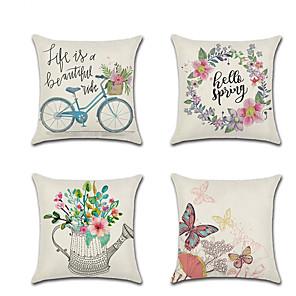 cheap Pillow Covers-4 pcs Linen Pillow Cover Holiday Cartoon Butterfly Spring Flowers Throw Pillow 45*45 cm