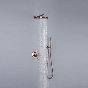 cheap Shower Faucets-Shower Faucet Set - Rainfall Contemporary Rose Gold Wall Mounted Ceramic Valve Bath Shower Mixer Taps / Brass
