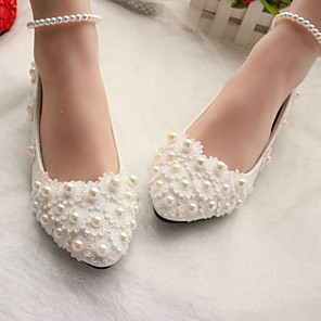 cheap Wedding Shoes-Women's Wedding Shoes Glitter Crystal Sequined Jeweled Flat Heel Round Toe PU Winter White