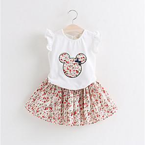 cheap Kids' Sandals-Kids Girls' Basic Print Short Sleeve Clothing Set White