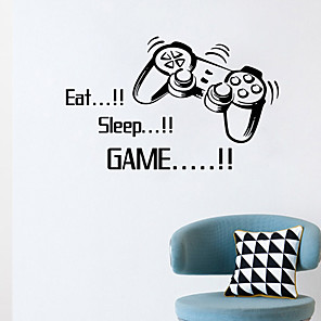 cheap Wall Stickers-Eat Sleep Game Wall Stickers Boys Bedroom Letter Diy Kids Rooms Decoration Art Wall Stickers Letters Words Game Room