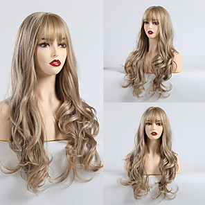 cheap Synthetic Trendy Wigs-Synthetic Wig Matte Body Wave Lily Neat Bang Wig Long Light Brown Synthetic Hair 24 inch Women's Fashionable Design Comfortable Light Brown