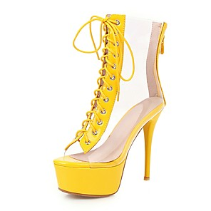 cheap Women's Boots-Women's Boots Transparent Shoes Stiletto Heel Peep Toe PU Booties / Ankle Boots Classic Spring & Summer Yellow / Green / Silver / Wedding / Party & Evening / Color Block