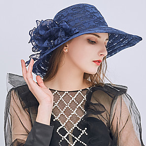 cheap Historical & Vintage Costumes-Queen Elizabeth Audrey Hepburn Retro Vintage Kentucky Derby Hat Fascinator Hat Women's Organza Costume Hat Black / White / Burgundy Vintage Cosplay Party Party Evening