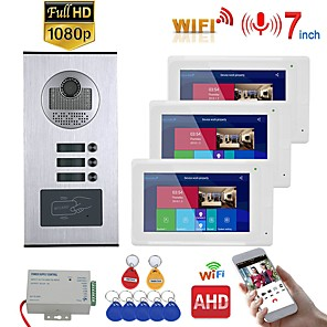 cheap Video Door Phone Systems-7inch Record Wired Wifi Video Intercom 3 Apartments with 3 Family RFID Doorphone System IR-CUT HD 1080P Doorbell Camera