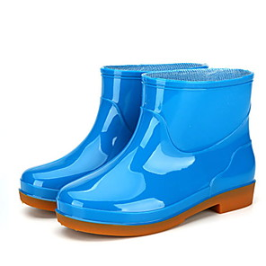 cheap Women's Boots-Women's Boots Low Heel Round Toe PVC Mid-Calf Boots Spring &  Fall Green / Blue / Khaki