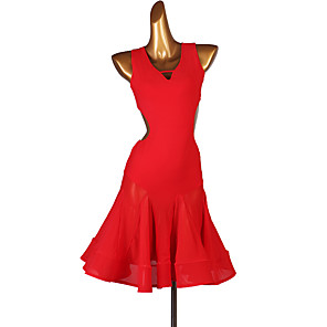 cheap Latin Dancewear-Latin Dance Dress Split Joint Women's Training Sleeveless High Chinlon Tulle