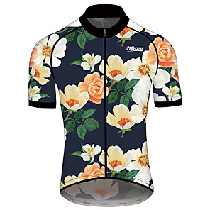 cheap Wedding Shoes-21Grams Men's Women's Short Sleeve Cycling Jersey Spandex Polyester Blue+Yellow Floral Botanical Bike Jersey Top Mountain Bike MTB Road Bike Cycling Quick Dry Sports Clothing Apparel / Race Fit