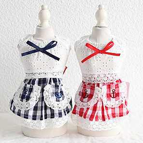 cheap Dog Clothes-Dog Costume Dress Dog Clothes Breathable Blue Easter Costume Beagle Bichon Frise Chihuahua Cotton Plaid / Check Bowknot Lace Cosplay Cute XS S M L XL