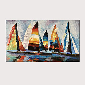 cheap Oil Paintings-Hand Painted Abstract Knife Oil Painting Colorful Boats on Canvas with Stretched Frame for Home Decor Ready to Hang