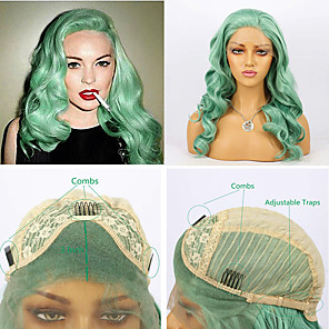 cheap Synthetic Trendy Wigs-Synthetic Lace Front Wig Body Wave Side Part Lace Front Wig Long Mint Green Synthetic Hair 16-26 inch Women's Heat Resistant Synthetic Easy dressing Green / Natural Hairline / Natural Hairline