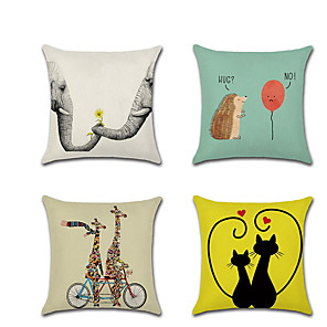 cheap Cushion Covers-Set of 4 Linen Pillow Cover Lovers  Cartoon Animal Romantic Valentine's DayThrow Pillow 45*45 cm