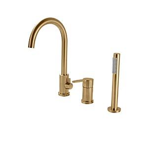 cheap Bathtub Faucets-Bathtub Faucet - Contemporary Nickel Brushed Roman Tub Ceramic Valve Bath Shower Mixer Taps / Single Handle Three Holes