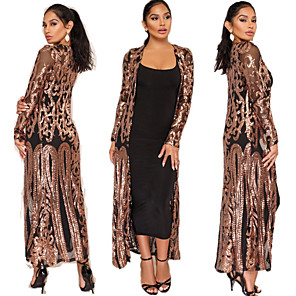 cheap Historical & Vintage Costumes-The Great Gatsby Retro Vintage 1920s Summer Cloak Women's Sequins Sequin Costume Black+Golden / Silver / Apricot Vintage Cosplay Event / Party Long Sleeve / Dress