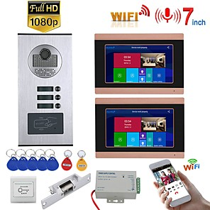 cheap Video Door Phone Systems-7inch Record Wired Wifi Video Intercom 2 Apartments Doorphone System with  RFID 1080P Doorbell Camera NO Electric Strike Door Lock