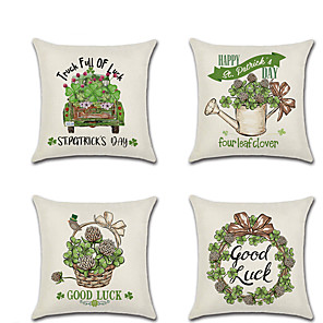 cheap Pillow Covers-4 pcs Linen Pillow Cover Four Green Hakusa in The Spring Rustic Holiday Throw Pillow