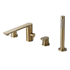 cheap Bathtub Faucets-Bathtub Faucet - Contemporary Nickel Brushed Roman Tub Brass Valve Bath Shower Mixer Taps / Two Handles Four Holes