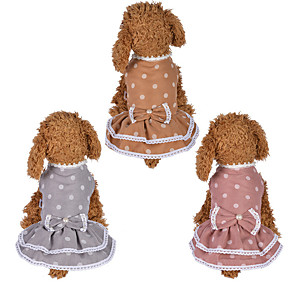 cheap Dog Clothes-Dog Cat Dress Dog Clothes Orange Pink Gray Costume Husky Labrador Alaskan Malamute Polyester Cotton Bowknot Lace Flower Leisure Sweet XS S M L XL