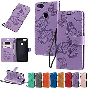 cheap Other Phone Case-Case For Motorola Moto G7 / Moto G7 Plus / Moto G7 Play Wallet / Card Holder / with Stand Full Body Cases Butterfly / Solid Colored PU Leather