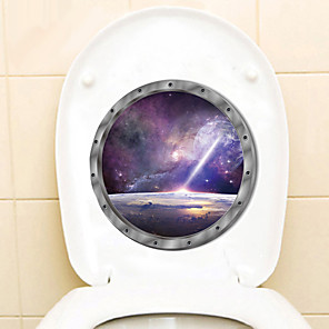 cheap Wall Stickers-Outer Planet Technological Wall Stickers Out Space Galaxy Planet Bedroom Art Vinyl 3D Toilet Stickers Decal Room Decor