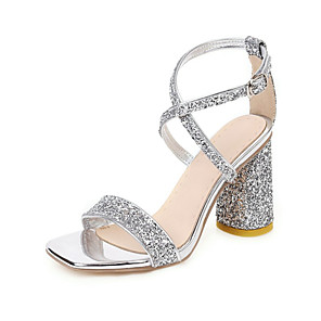 cheap Wedding Shoes-Women's Sandals Print Shoes Chunky Heel Open Toe Buckle / Sequin PU / Synthetics Summer Gold / White / Silver / Wedding / Party & Evening / Party & Evening