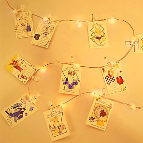 cheap LED String Lights-5M Photo Clip LED String Lights USB Fairy Lights Garland Christmas Decoration Party Wedding Xmas for Bedroom Wall Bar Cabinet
