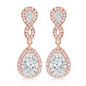 cheap Earrings-Women's AAA Cubic Zirconia Hoop Earrings Classic Drop Love Classic Vintage Imitation Diamond Earrings Jewelry Rose Gold For Wedding Party 1 Pair
