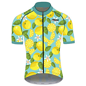 cheap Cycling Jerseys-21Grams Men's Short Sleeve Cycling Jersey Spandex Polyester Green / Yellow Fruit Lemon Bike Jersey Top Mountain Bike MTB Road Bike Cycling UV Resistant Breathable Quick Dry Sports Clothing Apparel