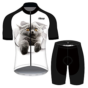 cheap Cycling Jersey & Shorts / Pants Sets-21Grams Men's Short Sleeve Cycling Jersey with Shorts Black / White Cat Animal Bike Clothing Suit UV Resistant Breathable 3D Pad Quick Dry Reflective Strips Sports Cat Mountain Bike MTB Road Bike