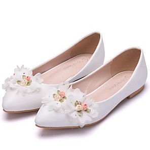 cheap Wedding Shoes-Women's Wedding Shoes Flat Heel Pointed Toe PU Spring & Summer White