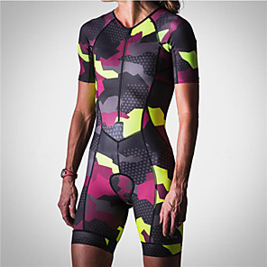 cheap Triathlon Clothing-21Grams Men's Women's Short Sleeve Triathlon Tri Suit Red / Yellow Camo / Camouflage Bike Clothing Suit UV Resistant Breathable Quick Dry Sweat-wicking Sports Camo / Camouflage Mountain Bike MTB Road