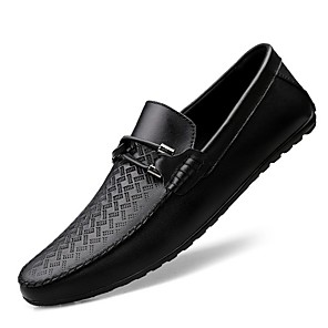 cheap Men's Slip-ons & Loafers-Men's Comfort Shoes Spring / Summer Daily Loafers & Slip-Ons Nappa Leather White / Black