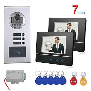 cheap Video Door Phone Systems-7 Inch Touch Button 2 Apartment/Family Video Door Phone Intercom System RFID 1000TVL  Doorbell Camera