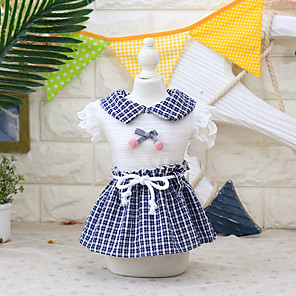 cheap Dog Clothes-Dog Cat Costume Dress Dog Clothes Breathable Blue Costume Beagle Bichon Frise Chihuahua Fabric Color Block Plaid / Check Bowknot Cosplay Cute XS S M L XL